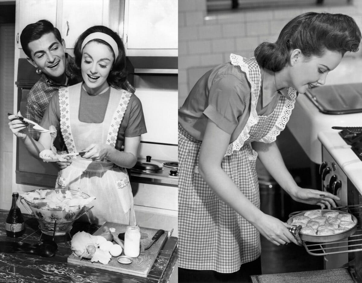 frau vintage 50s 50er jahre küche hausfrau