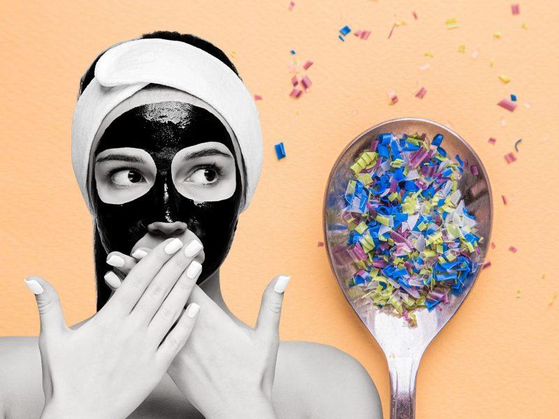 schädliche Inhaltsstoffe Kosmetik Frau mit Maske Mirkoplastik