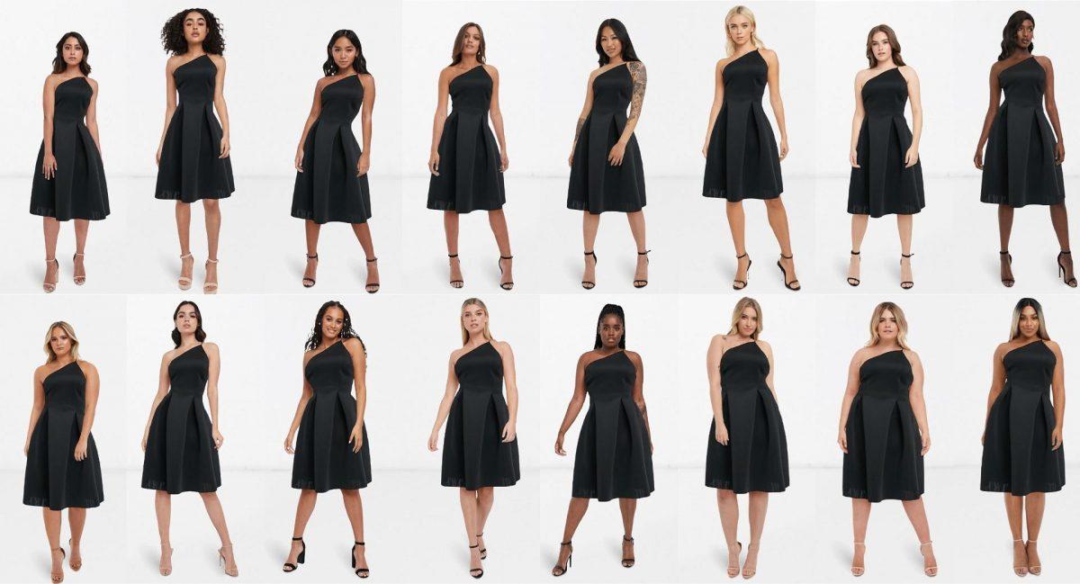 16 Frauen mit unterschiedlichen Körperformen und Haarfarben tragen alle das gleiche schwarze Kleid