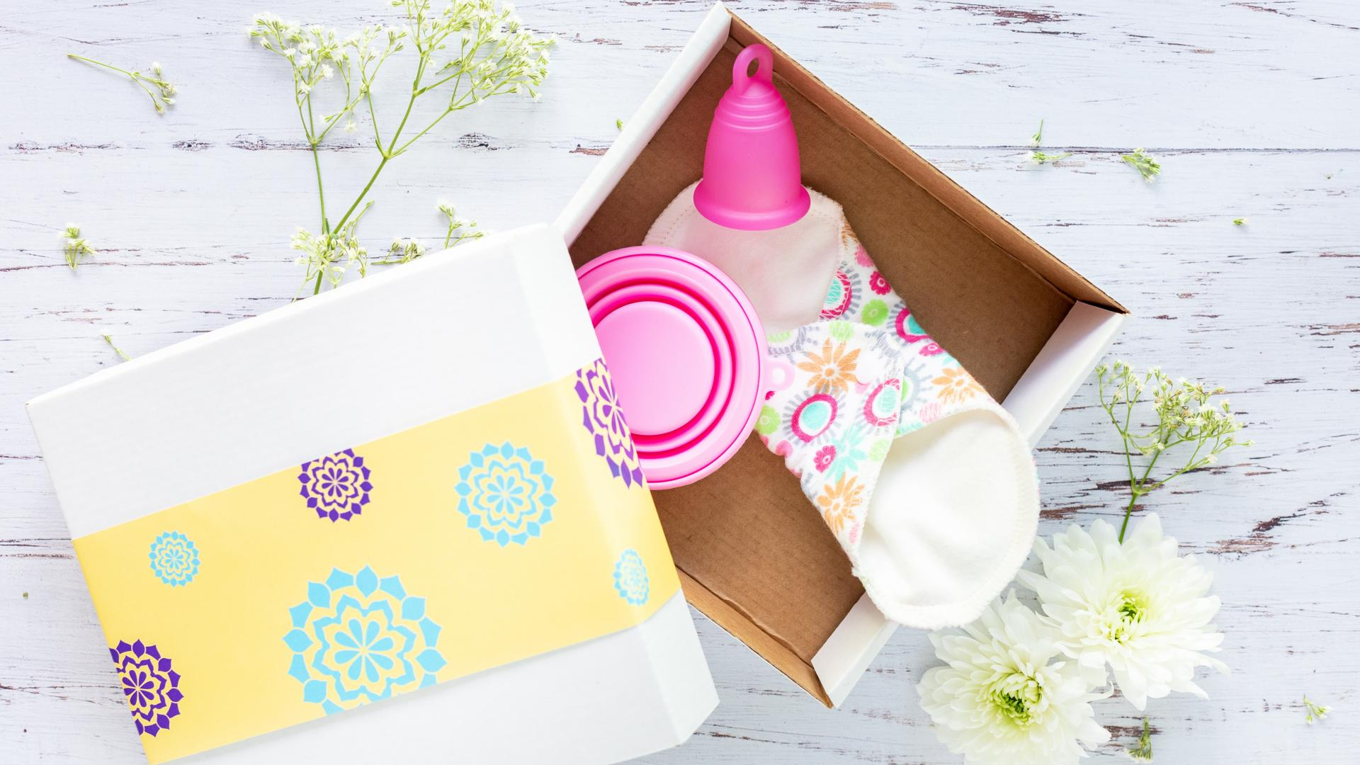 Schachtel mit verschiedenen Menstruations-Cups.