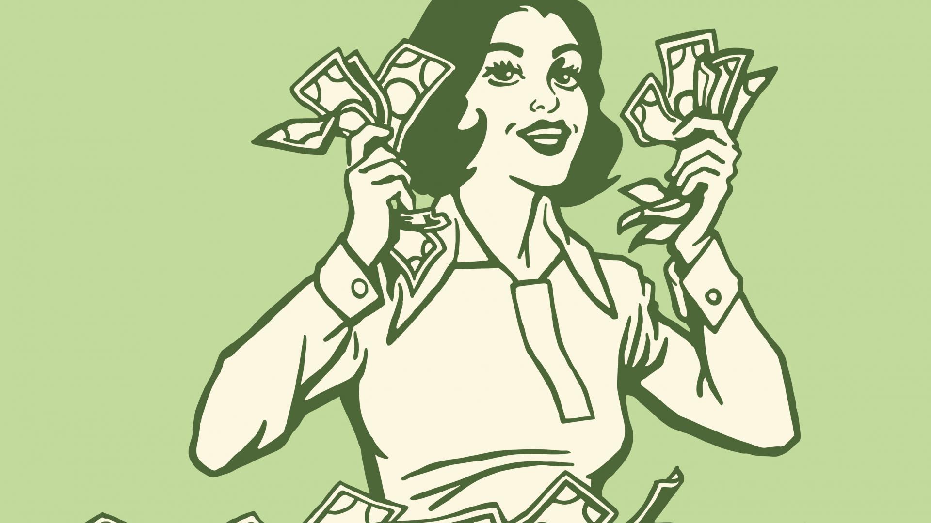 Frau Geld grün Zeichnung