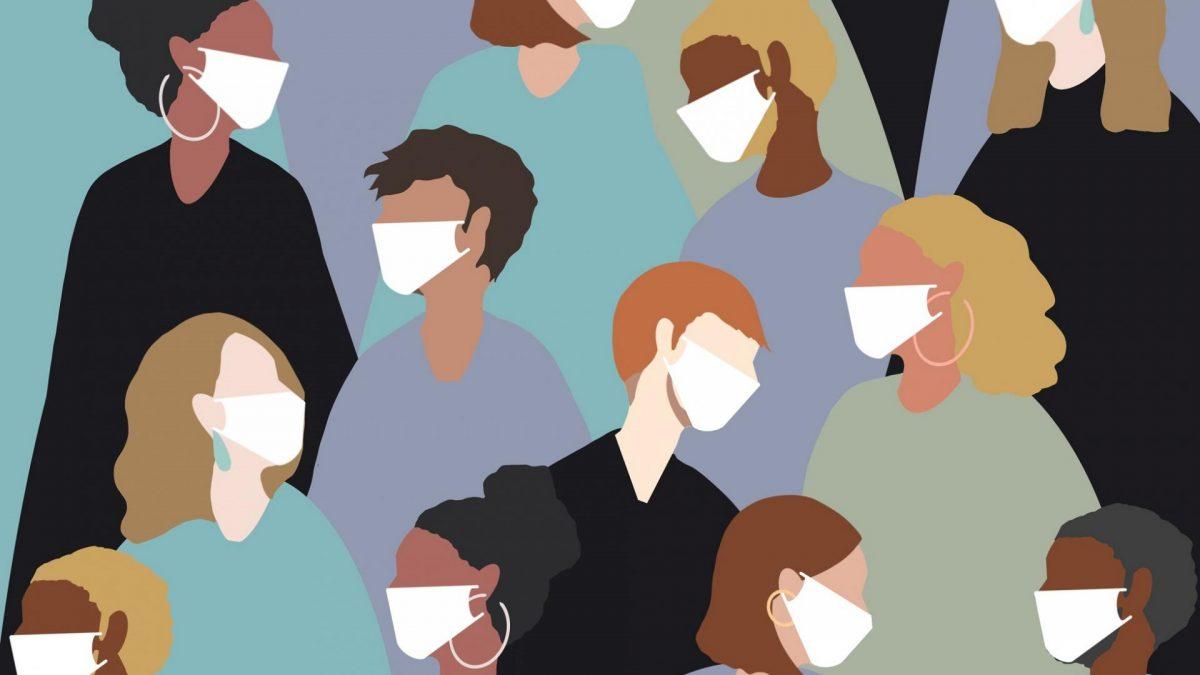 Grafik mit vielen Frauen und Männern, die eine Atemmaske tragen