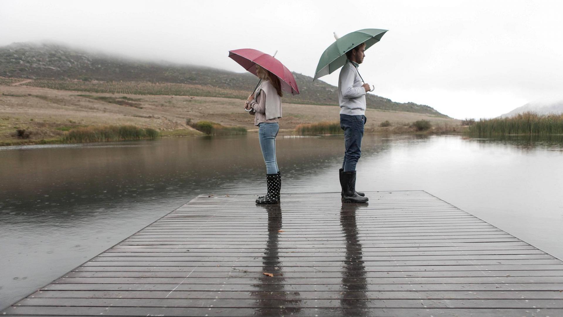 Paar See Regen