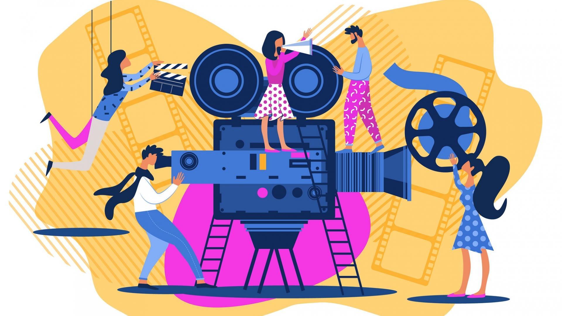 Cartoon mit Menschen, die an einem Filmset arbeiten