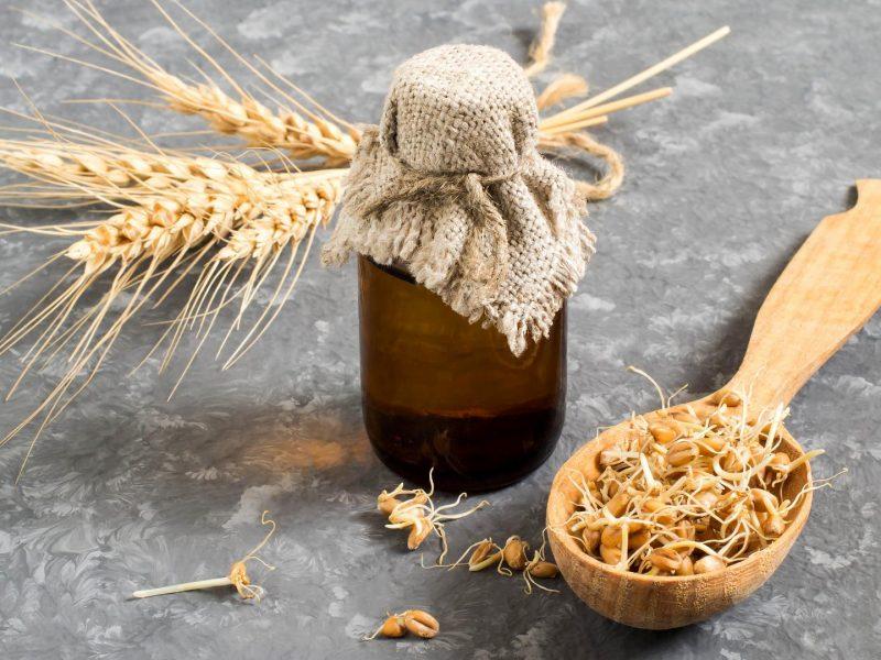 Öl Weizen Holzlöffel