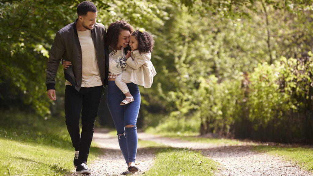 Familie, Kind, Wald, Spaziergang