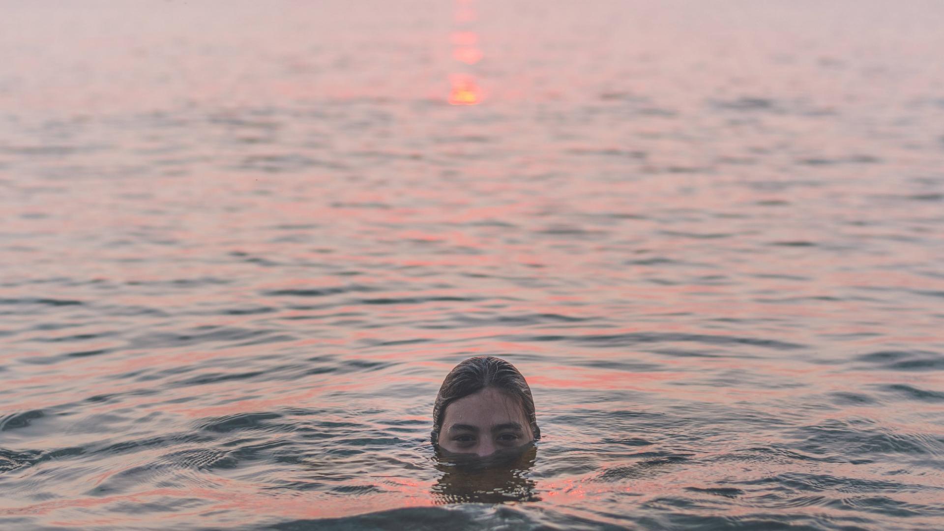 Frau, Meer, Wasser, Sonnenuntergang