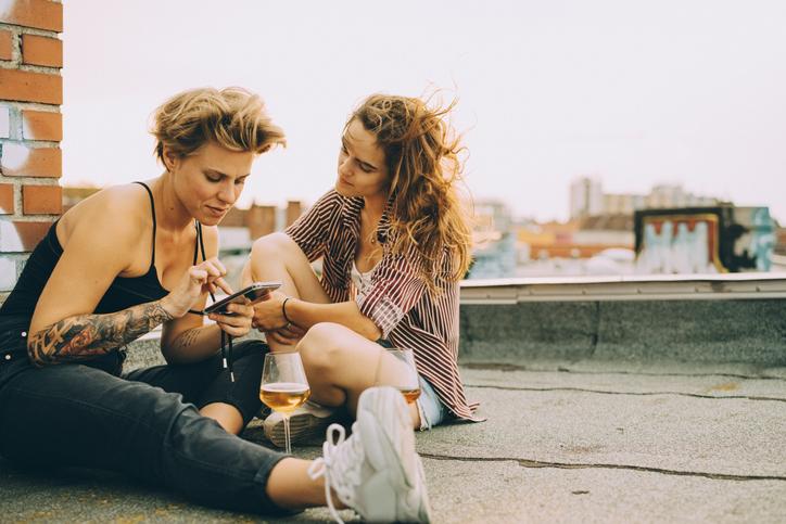 Freundinnen Dach