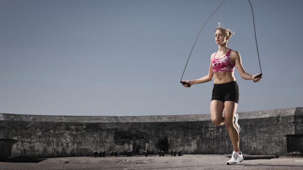 Springseil Laufschritt Joggen Seilspringen Sport