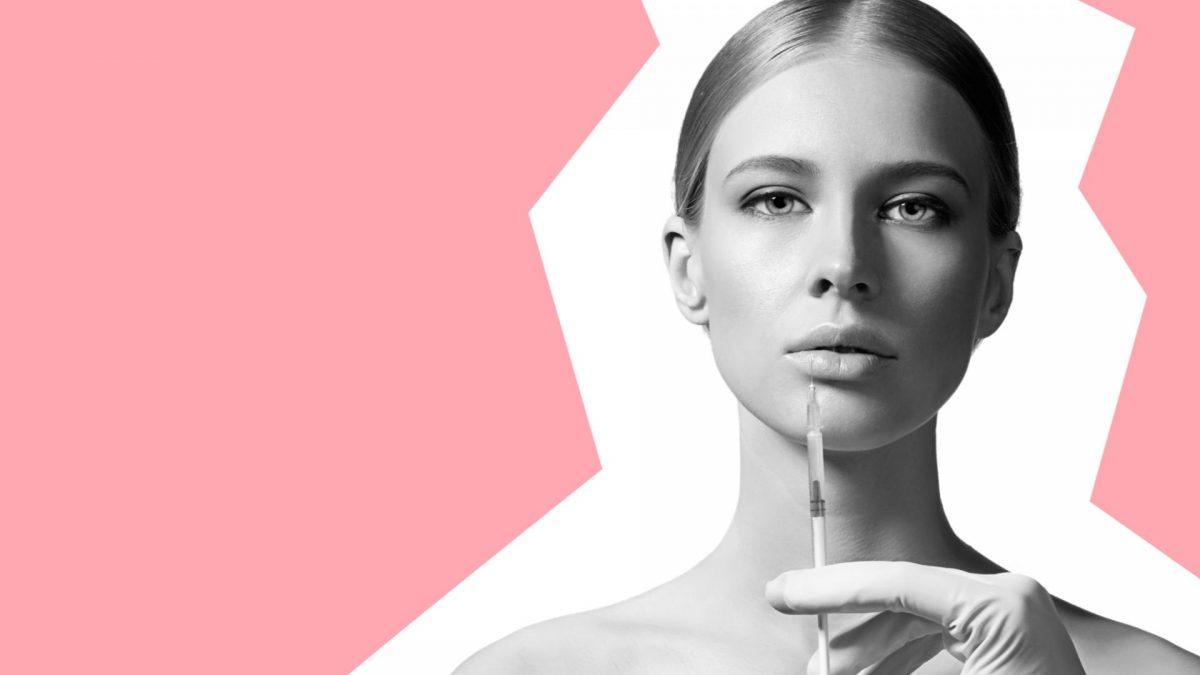 Botox Spritze Frau schwarz weiß rosa