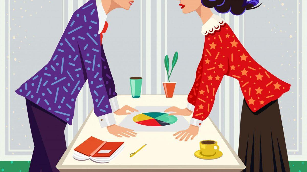 Business Debatte mann frau einkommen geld ehe geshäft partner comic grafik