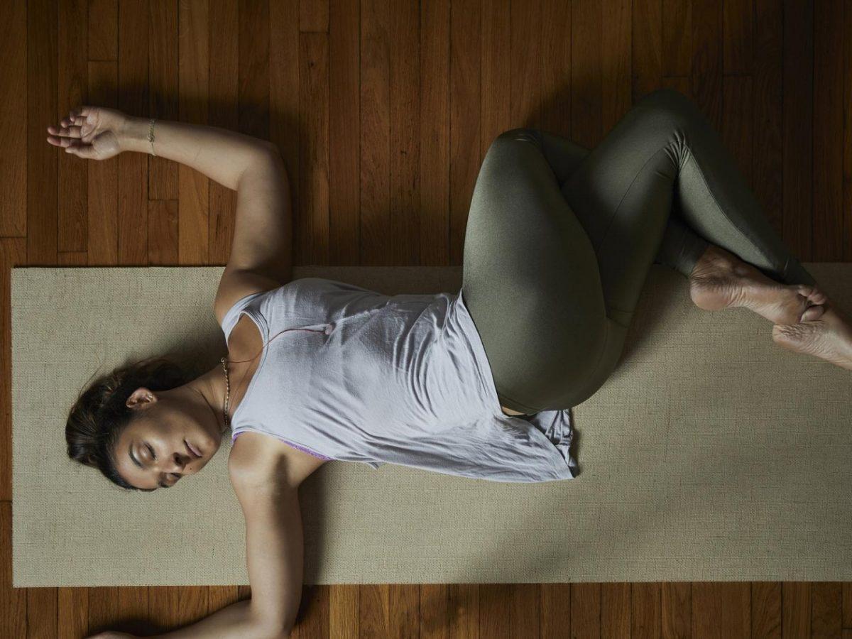 Frau, Matte, Yoga