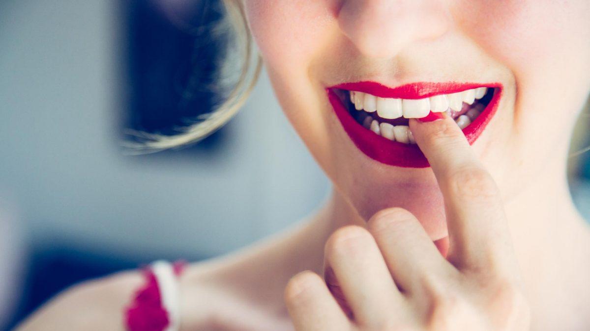 Frau leicht erotisch Lippen