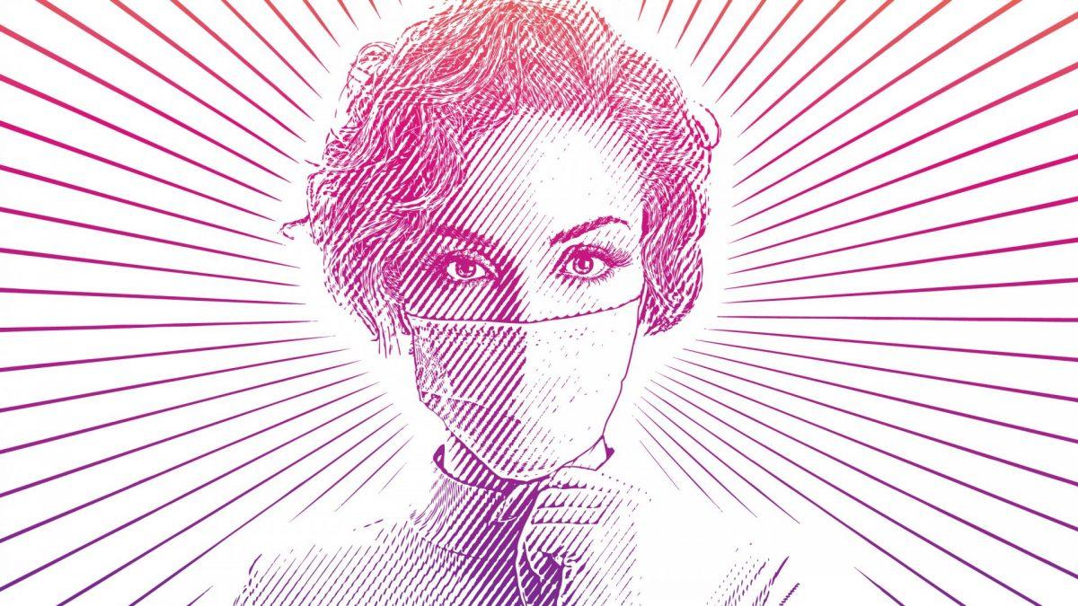 Frau mit mundschutz, Coronavirus