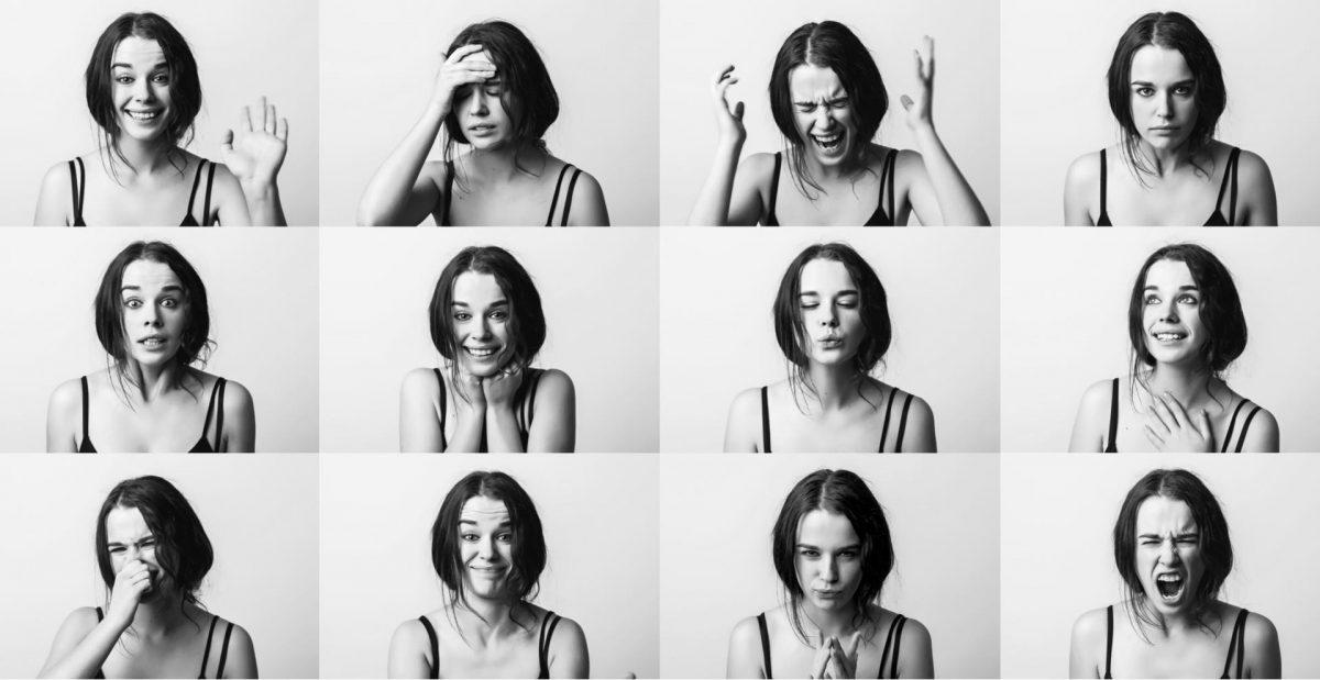 Frau verschiedene Gesichtsausdrücke