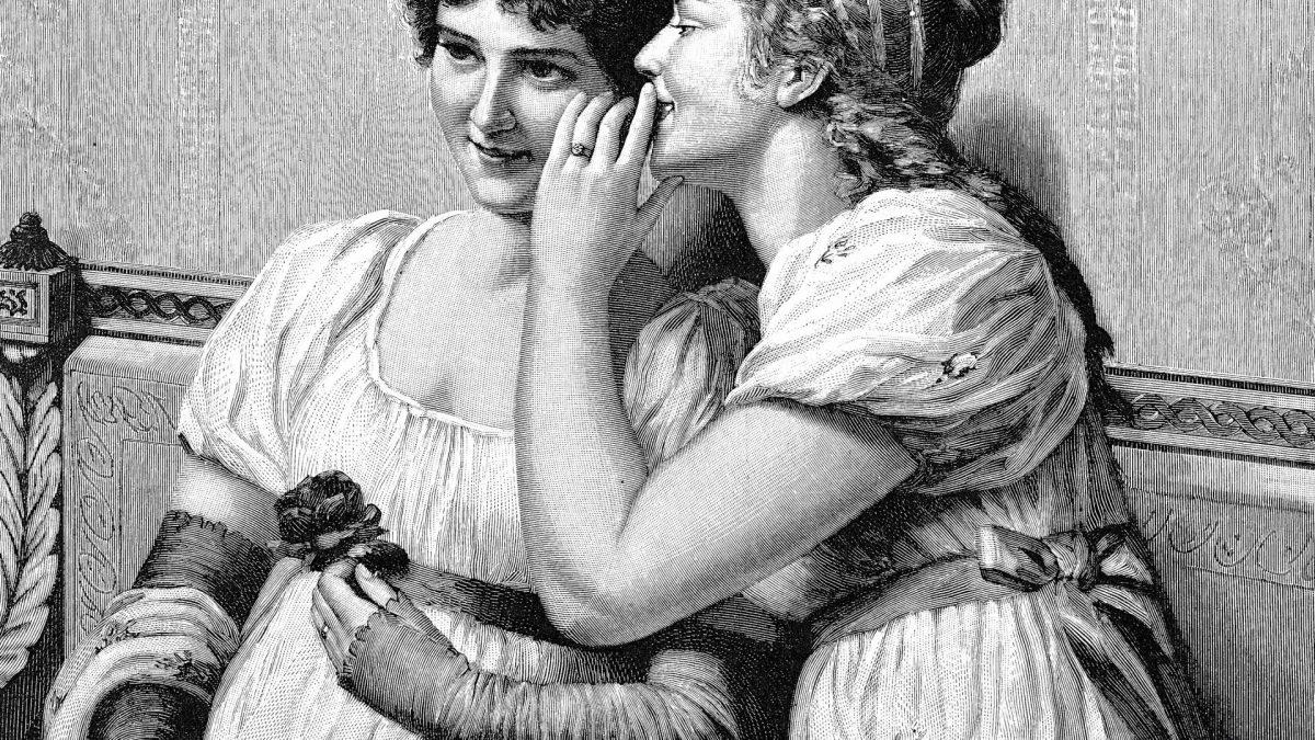Frauen ins Ohr flüstern retro vintage