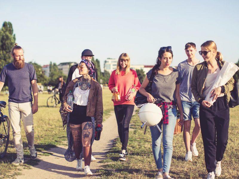 Freundesgruppe, Natur, Wandern, Grillen