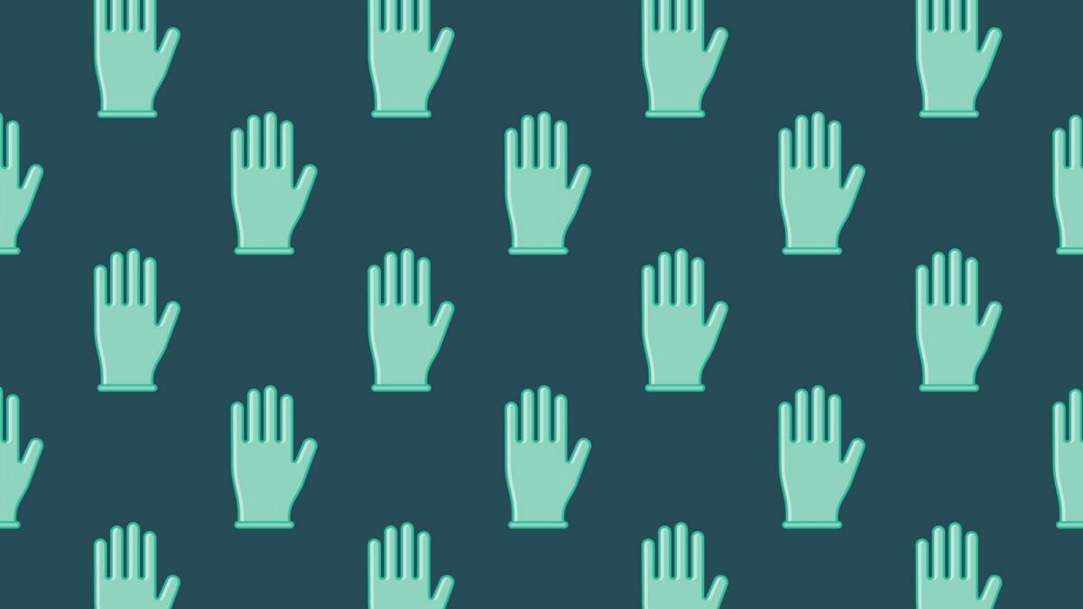 Grafik: Einmalhandschuhe vor einem grün-blauen Hintergrund
