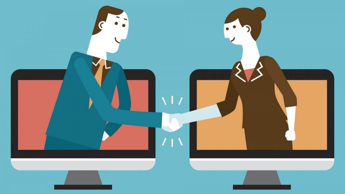 Grafik mit zwei Menschen, die aus einem Bildschirm heraus Hände schütteln