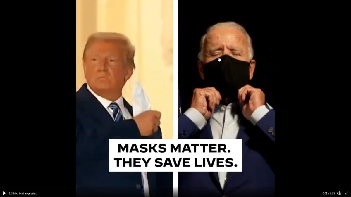 Joe Biden und DOnald Trump mit Mund-Nasen-Schutz
