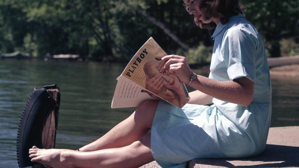 Lesen, Frau, Playboy, Magazin, Buch