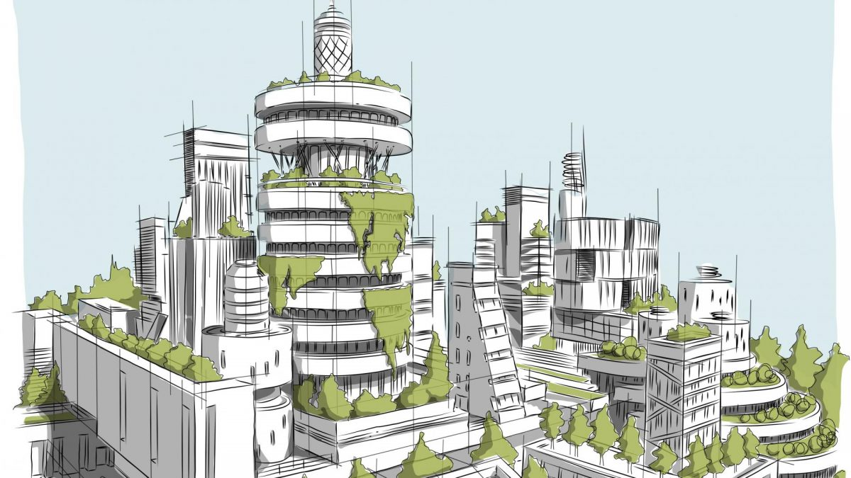 Stadt grün bewachsen, Grafik