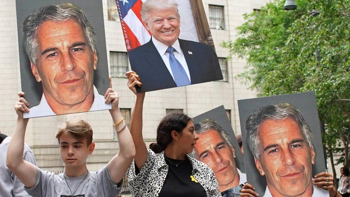 Trump, Epstein, Demo, Plakate
