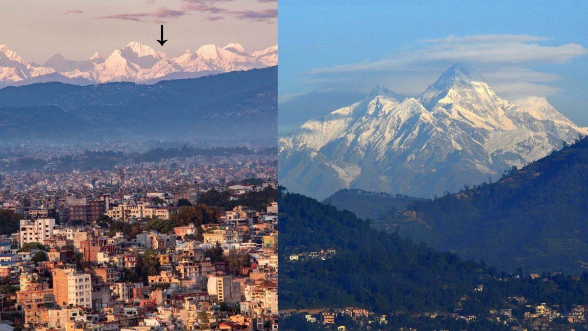 Vom 200 km entfernten Kathmandu ist erstmals dre Everest sichtbar.