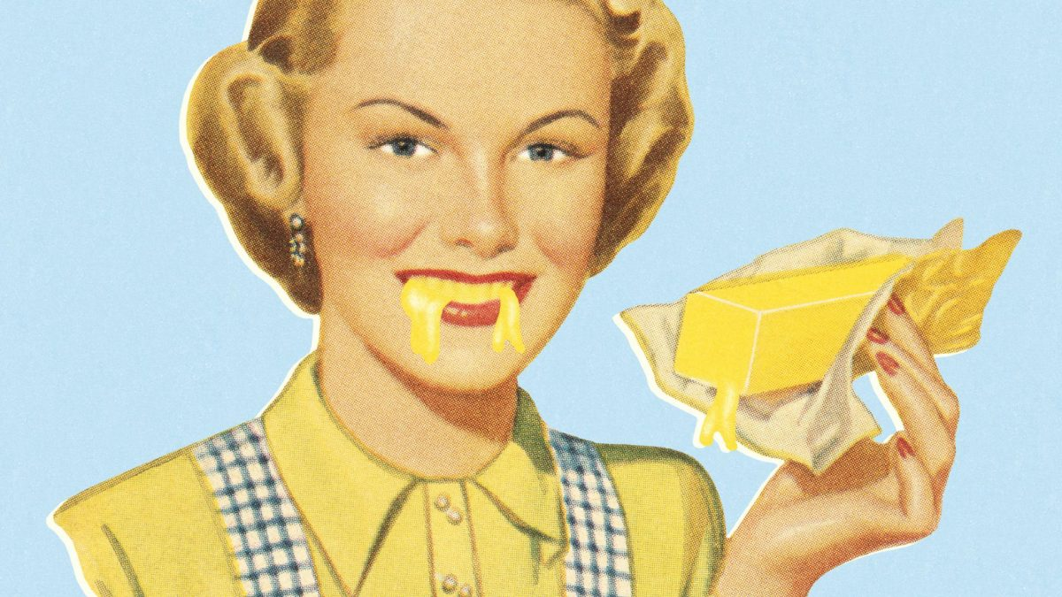 Woman Eating Butter, Frau Vintage, Comic