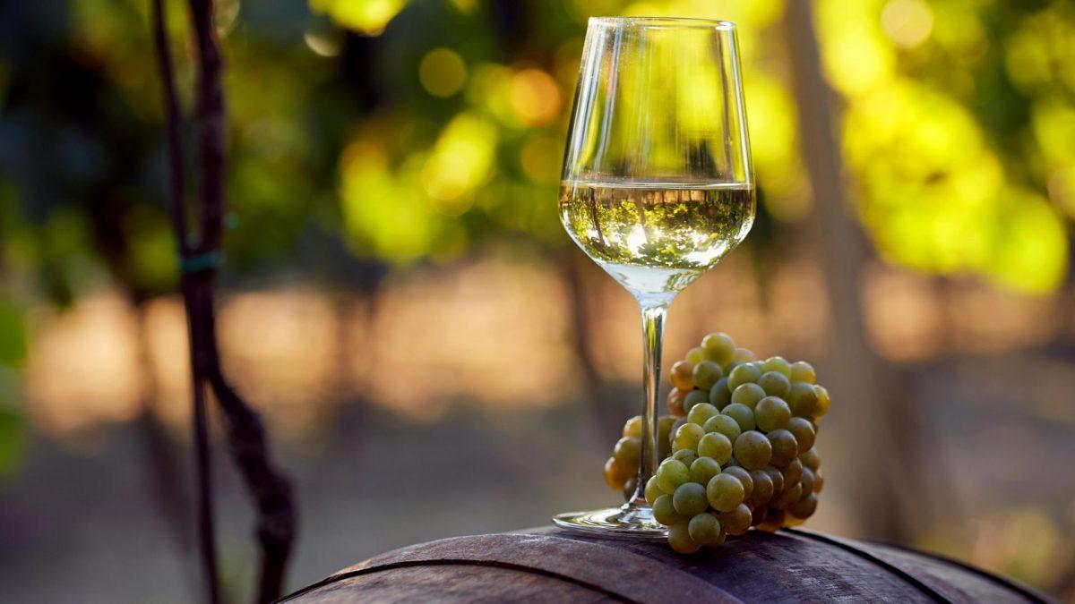 ein Glas Weißwein mit Trauben auf einem Fass in der Natur