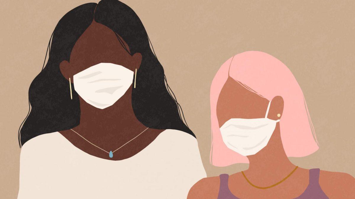 frauen maske schwarz weiß hip trendy hipster comic zeichnung