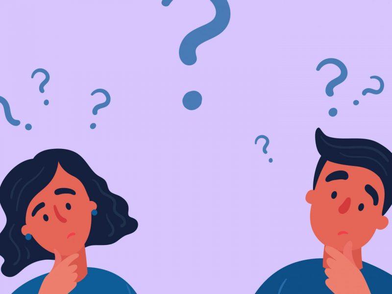 paar, fragezeichen, verwirrt, mann und frau