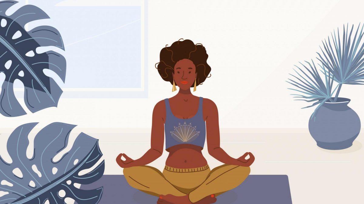 schwarze Frau macht Yoga Zuhause