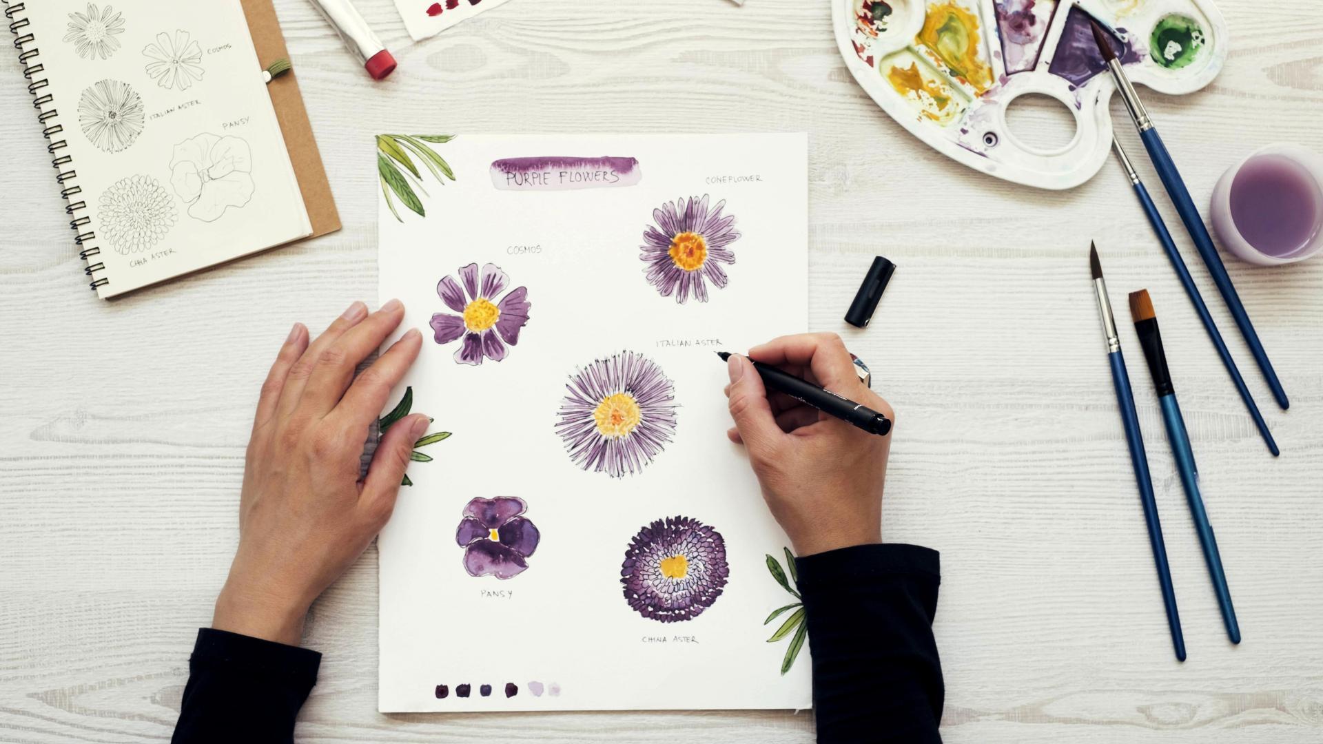 DIY Blogger zeichnet einige Blumen