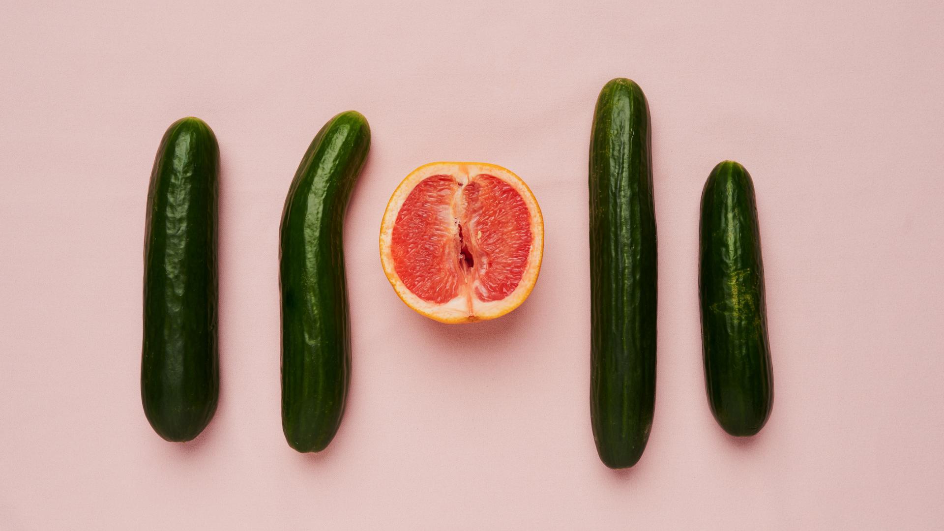 Penis und Vagina Obst und Gemüse