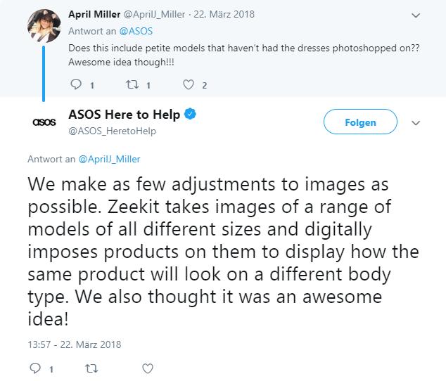 Twitter-Gespräch zwischen Nutzer und Asos Here to help