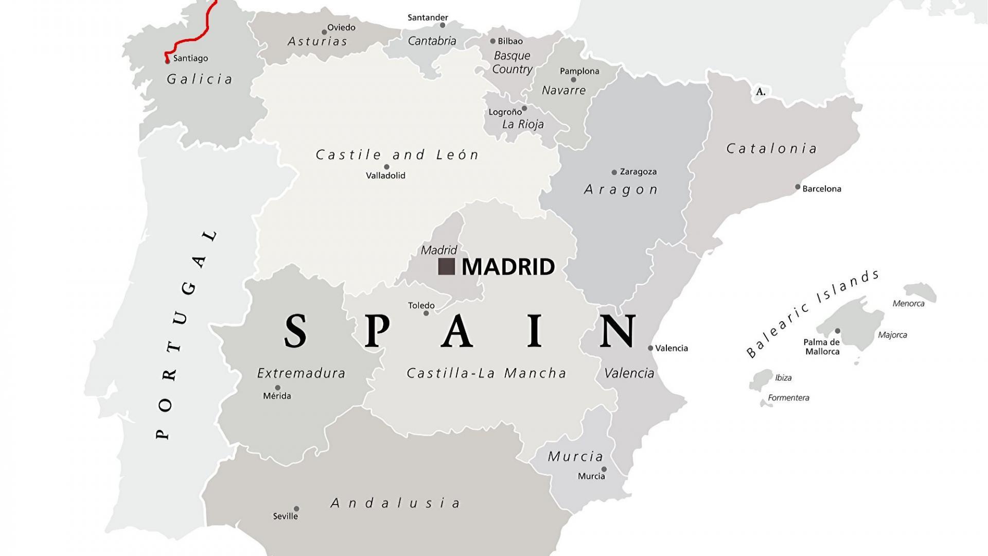 Landkarte: Camino Inglés