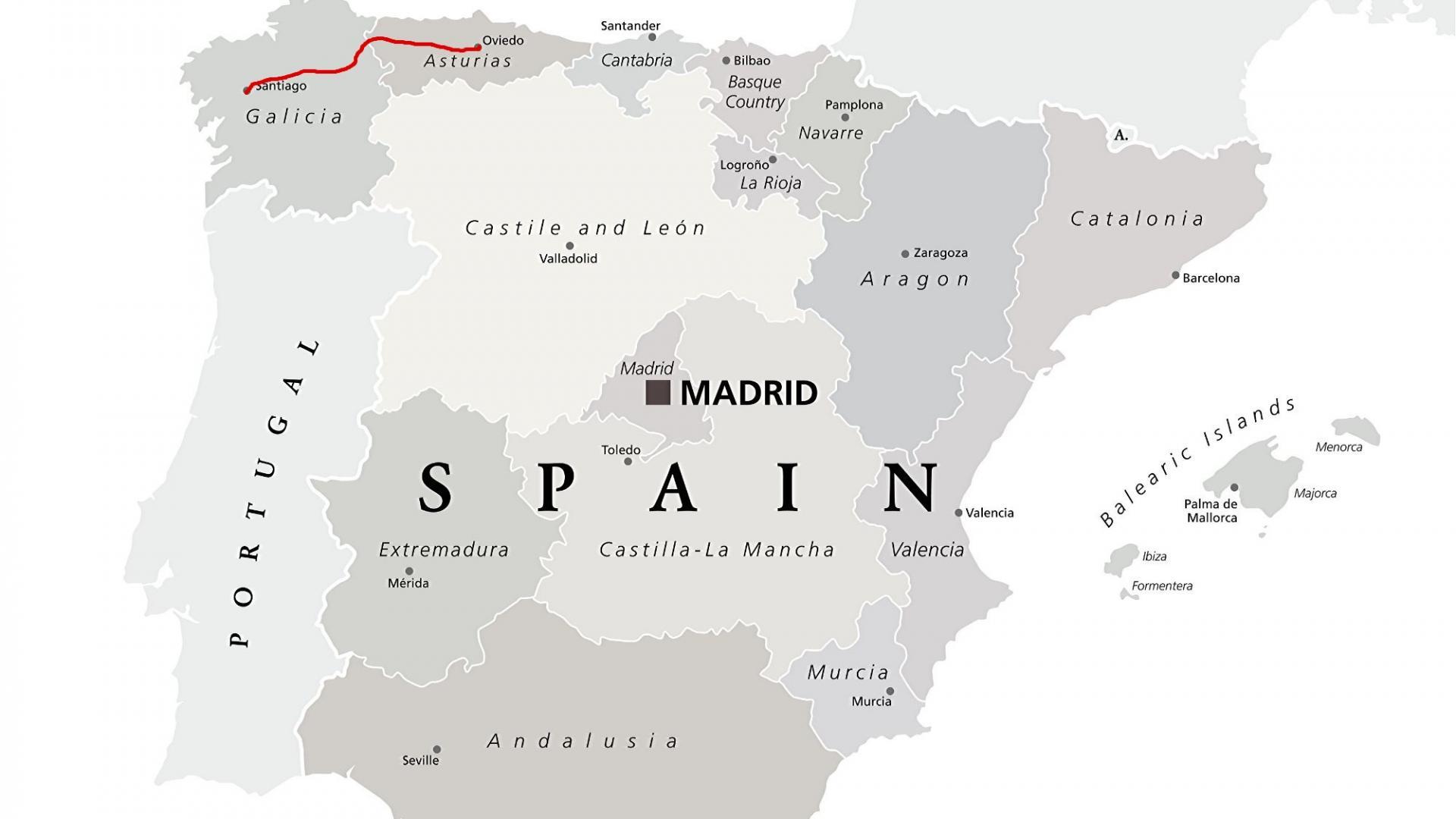 Landkarte: Camino Primitivo