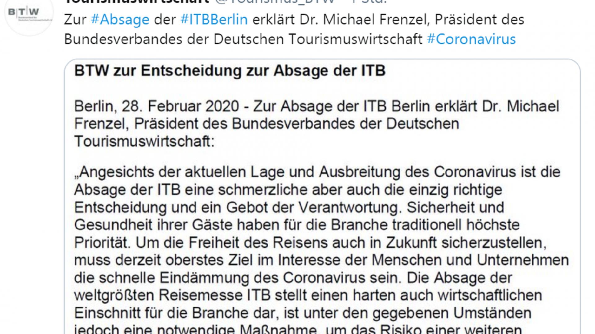 Twitter-Beitrag von Tourismuswirtschaft zur Absage der iTB Berlin
