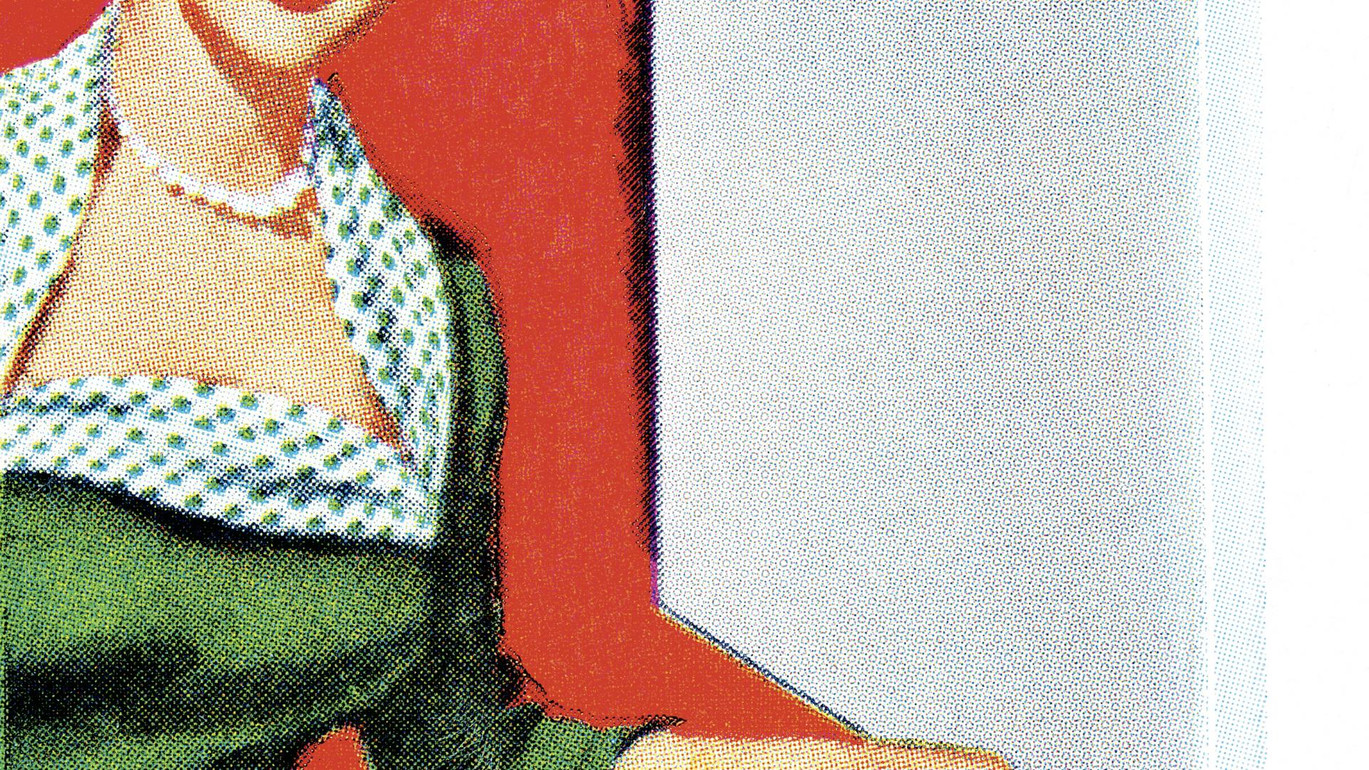 Frau Hausfrau mit Tablett 50er Jahre
