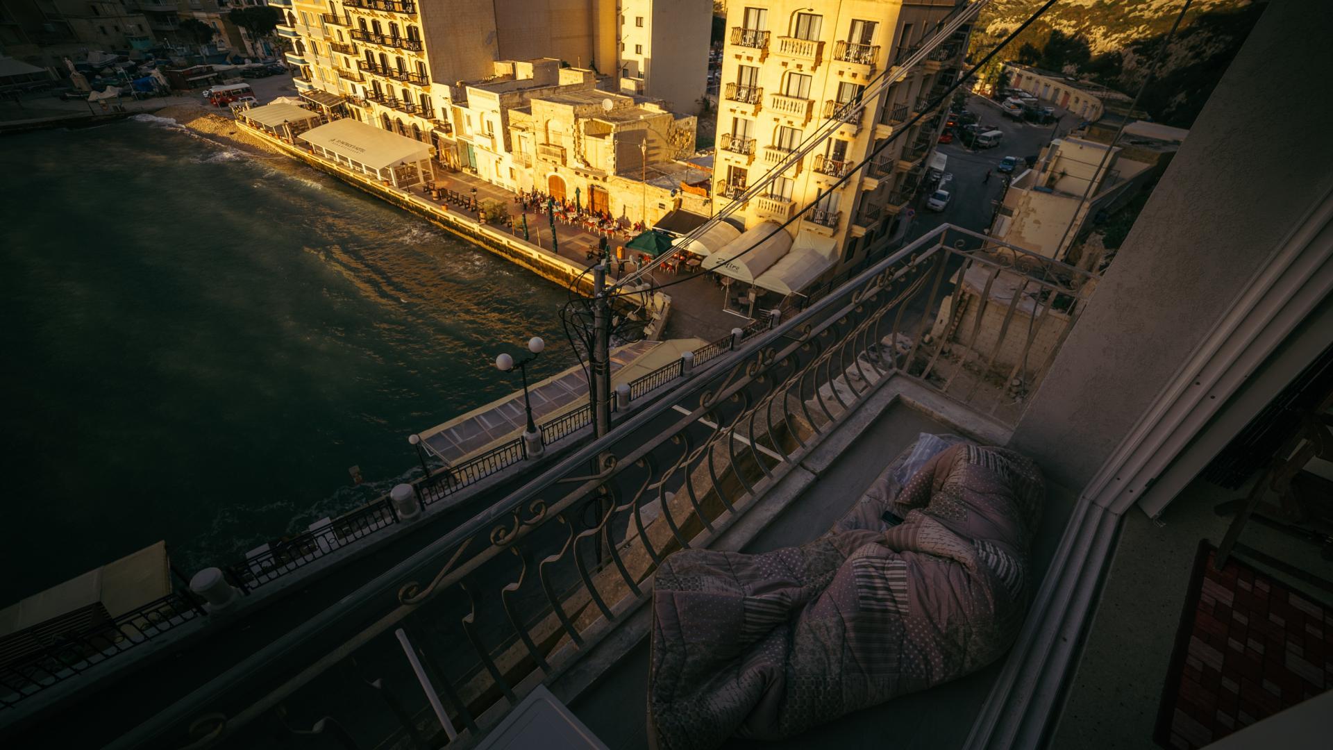 Schlafsack Schlafen Balkon