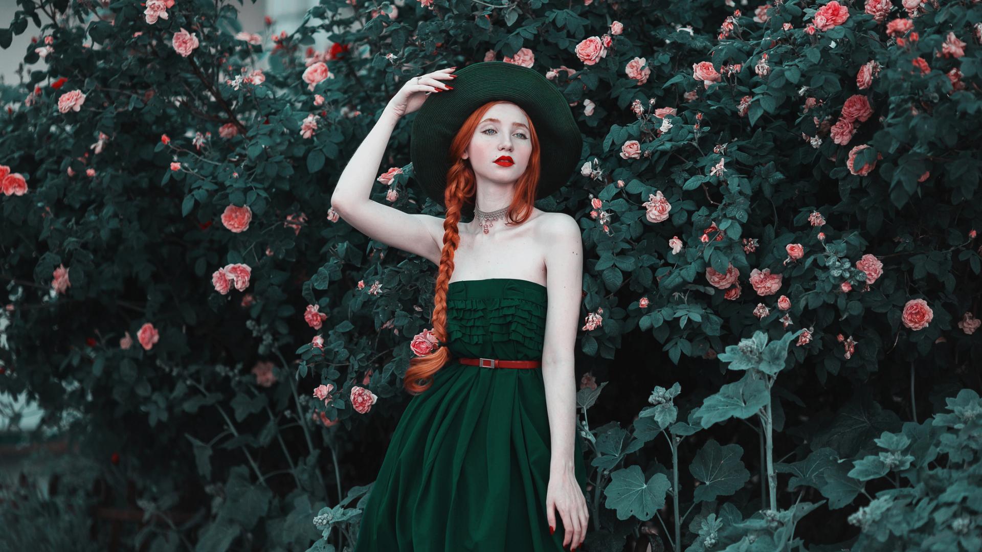 Fashion Model Natur Makeup beauty haare hair harten blumen rosen hut