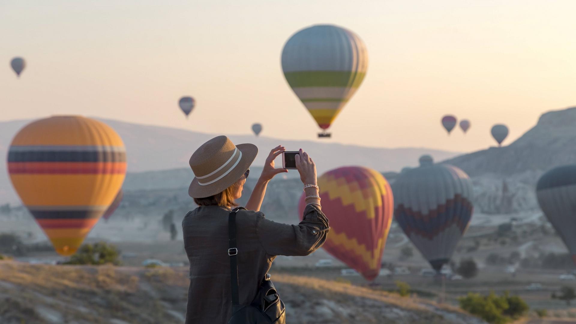 Frau Heißluftballon Foto