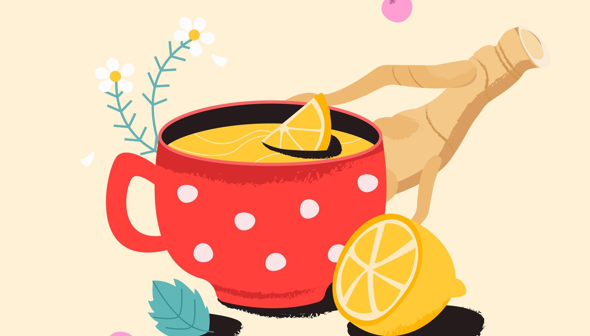 Tee mit Zitrone, Ingwer und Kamille