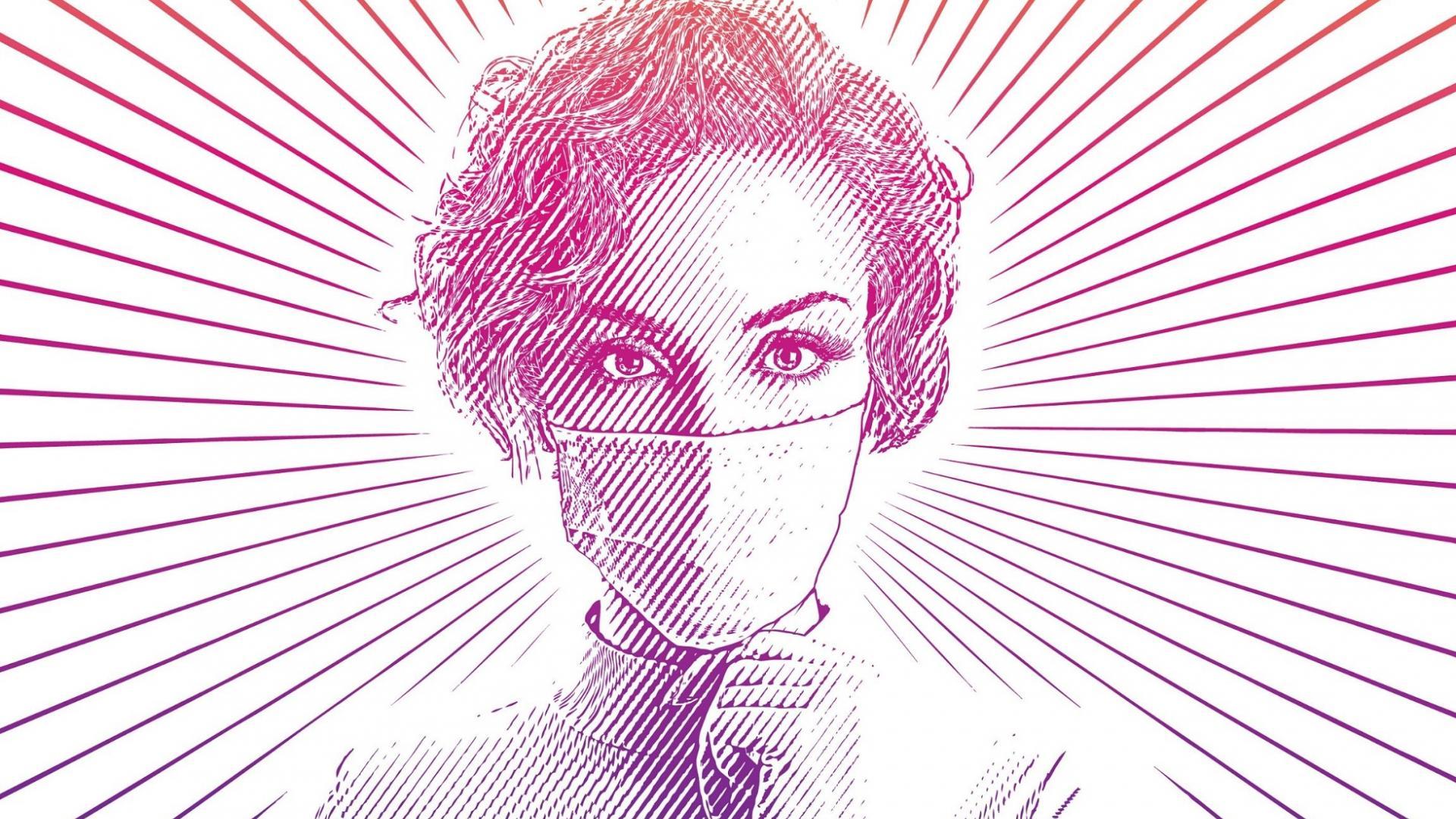 Illustration von einer Frau mit Atemmaske