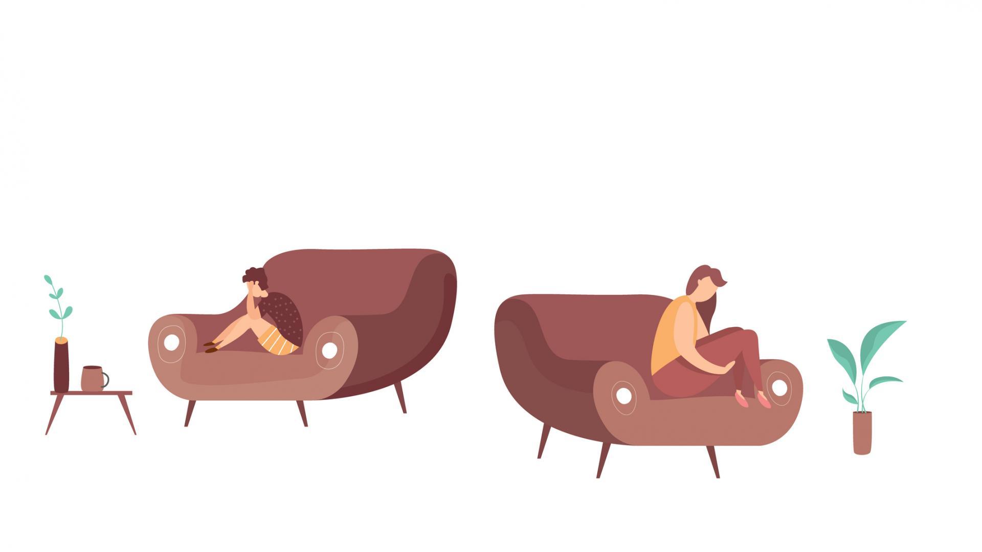 couch zuhause Paar beziehung traurig grafik comic