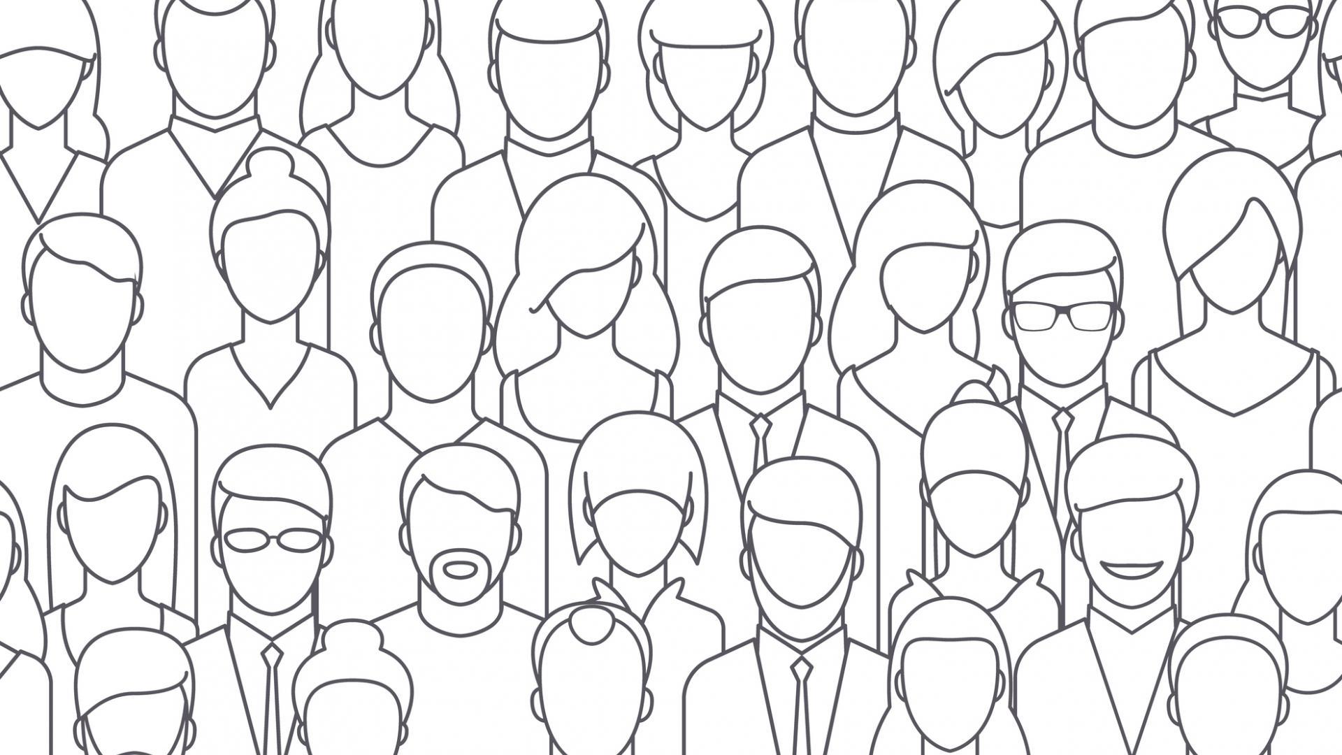 grobe Skizze von einer großen Masse an Menschen in schwarz-weiß