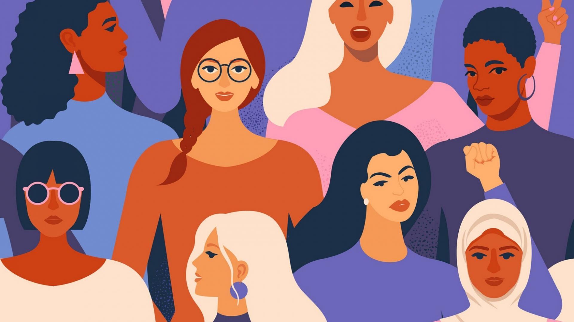 Illustration von verschiedenen Frauen unterschiedlicher Haut- und Haarfarben