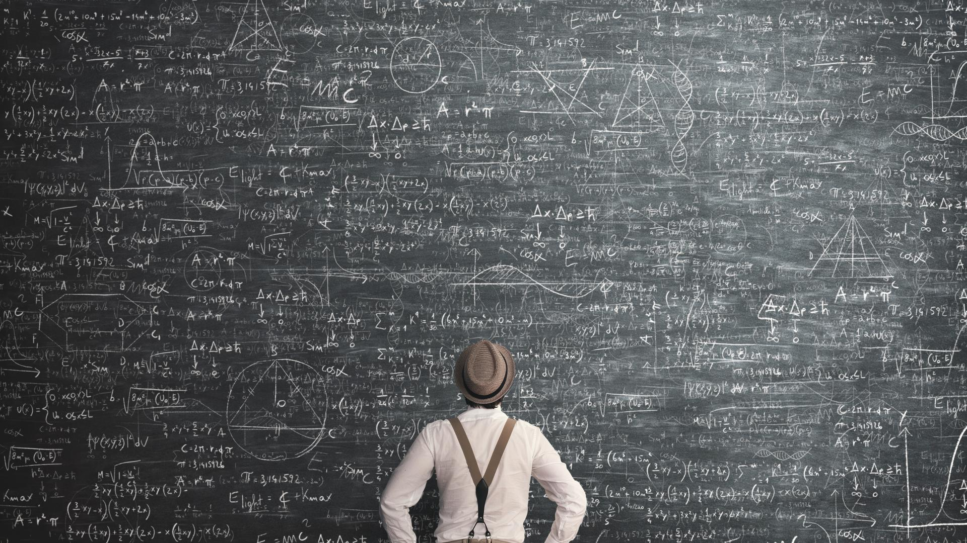 Mann Tafel Gleichungen mit Kreide