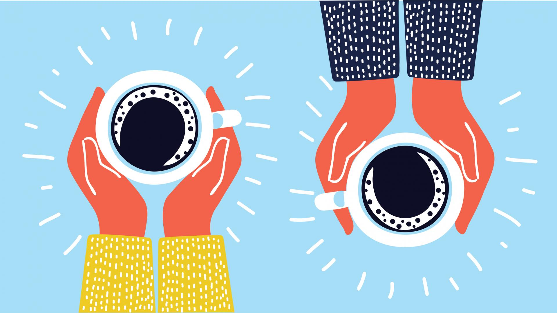 Kaffee Alternativen Tassen und zwei Hände